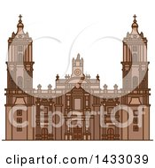 Clipart Of A Line Drawing Styled Mexican Landmark Metropolitan Cathedral Royalty Free Vector Illustration