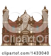 Clipart Of A Line Drawing Styled Mexican Landmark Our Lady Of Guadalupe Basilica Royalty Free Vector Illustration