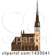 Clipart Of A Line Drawing Styled Estonia Landmark Saint Olaf Church Royalty Free Vector Illustration