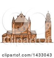 Clipart Of A Line Drawing Styled Israel Landmark Dormition Abbey Royalty Free Vector Illustration by Vector Tradition SM