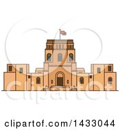 Clipart Of A Line Drawing Styled Israel Landmark Rockefeller Museum Royalty Free Vector Illustration by Vector Tradition SM