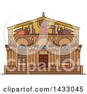 Clipart Of A Line Drawing Styled Israel Landmark Church Of All Nations Royalty Free Vector Illustration by Vector Tradition SM