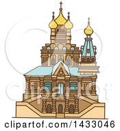 Clipart Of A Line Drawing Styled Israel Landmark Church Of Mary Magdalene Royalty Free Vector Illustration by Vector Tradition SM
