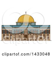 Clipart Of A Line Drawing Styled Israel Landmark Al Aqsa Mosque Royalty Free Vector Illustration by Vector Tradition SM