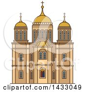 Clipart Of A Line Drawing Styled Israel Landmark Monastery Ein Karem Royalty Free Vector Illustration by Vector Tradition SM