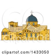 Clipart Of A Line Drawing Styled Israel Landmark Church Of The Holy Sepulchre Royalty Free Vector Illustration