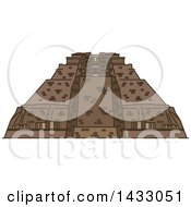 Poster, Art Print Of Line Drawing Styled Mexican Landmark Uxmal