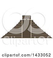 Clipart Of A Line Drawing Styled Mexican Landmark Chichen Itza Royalty Free Vector Illustration