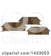 Clipart Of A Line Drawing Styled Mexican Landmark Teotihuacan Royalty Free Vector Illustration