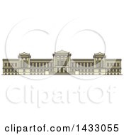 Clipart Of A Line Drawing Styled American Landmark Museum Of Fine Arts Royalty Free Vector Illustration by Vector Tradition SM