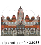 Clipart Of A Line Drawing Styled American Landmark Old Red Museum Of Dallas Royalty Free Vector Illustration