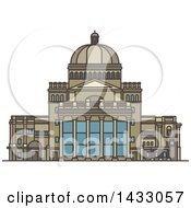 Clipart Of A Line Drawing Styled American Landmark The First Church Of Christ Royalty Free Vector Illustration