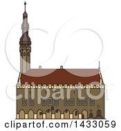 Clipart Of A Line Drawing Styled Estonia Landmark Tallinn Town Hall Royalty Free Vector Illustration