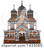 Clipart Of A Line Drawing Styled Estonia Landmark Alexander Nevsky Cathedral Royalty Free Vector Illustration