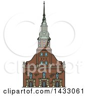 Clipart Of A Line Drawing Styled Latvia Landmark St Peter Church Royalty Free Vector Illustration