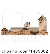 Clipart Of A Line Drawing Styled Latvia Landmark Turaida Castle Royalty Free Vector Illustration by Vector Tradition SM