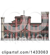 Clipart Of A Line Drawing Styled Latvia Landmark Birini Palace Royalty Free Vector Illustration