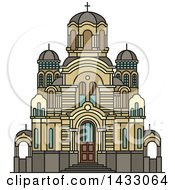 Clipart Of A Line Drawing Styled Latvia Landmark Nativity Of Christ Cathedral Royalty Free Vector Illustration