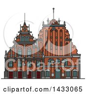 Clipart Of A Line Drawing Styled Latvia Landmark House Of Blackheads Royalty Free Vector Illustration