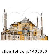 Clipart Of A Line Drawing Styled Turkey Landmark Hagia Sophia Royalty Free Vector Illustration by Vector Tradition SM