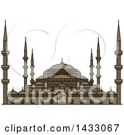 Clipart Of A Line Drawing Styled Turkey Landmark Sultan Ahmed Mosque Royalty Free Vector Illustration by Vector Tradition SM