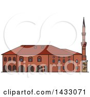 Clipart Of A Line Drawing Styled Turkey Landmark Haci Bayram Camii Royalty Free Vector Illustration by Vector Tradition SM