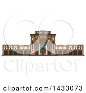 Clipart Of A Line Drawing Styled Iran Landmark Ali Qapu Palace Royalty Free Vector Illustration