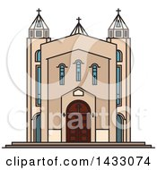 Clipart Of A Line Drawing Styled Iran Landmark Saint Sarkis Cathedral Royalty Free Vector Illustration
