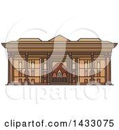Clipart Of A Line Drawing Styled Iran Landmark Chehel Sotoun Royalty Free Vector Illustration