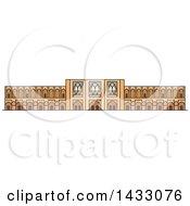 Clipart Of A Line Drawing Styled Iran Landmark Si O Seh Pol Bridge Royalty Free Vector Illustration