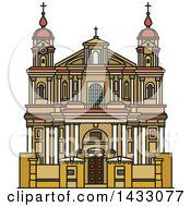 Clipart Of A Line Drawing Styled Lithuanian Landmark Church Of St Peter And St Paul Royalty Free Vector Illustration