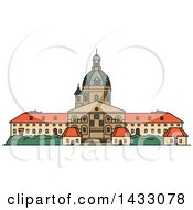 Clipart Of A Line Drawing Styled Lithuanian Landmark Kaunas Cathedral Basilica Royalty Free Vector Illustration
