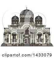 Clipart Of A Line Drawing Styled Lithuanian Landmark Church Of St Michael Archangel Royalty Free Vector Illustration