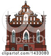 Clipart Of A Line Drawing Styled Lithuanian Landmark Church Of St Francis And St Bernard Royalty Free Vector Illustration