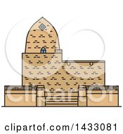 Clipart Of A Line Drawing Styled Iran Landmark Tomb Of Mordecai And Esther Royalty Free Vector Illustration