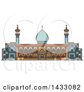 Clipart Of A Line Drawing Styled Iran Landmark Shah Cheragh Mausoleum Royalty Free Vector Illustration