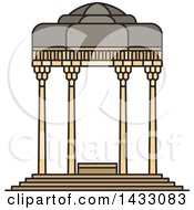 Clipart Of A Line Drawing Styled Iran Landmark Tomb Of Hafez Royalty Free Vector Illustration