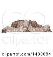 Clipart Of A Line Drawing Styled Iran Landmark Naqsh E Rustam And Cube Of Zoroaster Royalty Free Vector Illustration