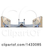 Clipart Of A Line Drawing Styled Iran Landmark Jama Masjid Royalty Free Vector Illustration