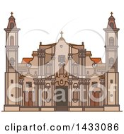 Clipart Of A Line Drawing Styled Cuban Landmark St Christopher Havana Cathedral Royalty Free Vector Illustration