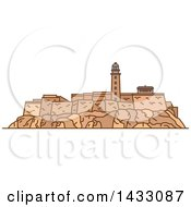 Clipart Of A Line Drawing Styled Cuban Landmark Real Fuerza Fortress Royalty Free Vector Illustration by Vector Tradition SM