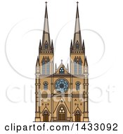 Clipart Of A Line Drawing Styled Australian Landmark St Mary Cathedral Royalty Free Vector Illustration