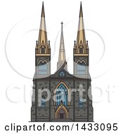 Clipart Of A Line Drawing Styled Australian Landmark St Patrick Cathedral Royalty Free Vector Illustration