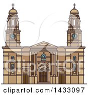 Clipart Of A Line Drawing Styled Uruguay Landmark Church Of Our Lady Of The Mount Carmel Royalty Free Vector Illustration