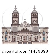 Clipart Of A Line Drawing Styled Uruguay Landmark Cathedral Of Mercedes Royalty Free Vector Illustration