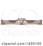 Clipart Of A Line Drawing Styled American Landmark Field Museum Of Natural History Royalty Free Vector Illustration