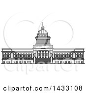 Clipart Of A Black And White Line Drawing Styled Cuban Landmark National Capitol Royalty Free Vector Illustration