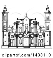 Clipart Of A Black And White Line Drawing Styled Cuban Landmark St Christopher Havana Cathedral Royalty Free Vector Illustration