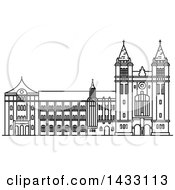Clipart Of A Black And White Line Drawing Styled Brazilian Landmark Sao Bento Monastery Royalty Free Vector Illustration