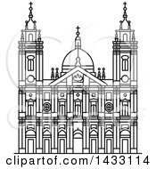 Clipart Of A Black And White Line Drawing Styled Brazilian Landmark Candelaria Church Royalty Free Vector Illustration
